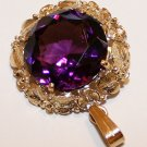 9.292 Grams 14K Yellow Gold Pendant with Large, Deep Purple Amethyst Gemstone Scrap or Not