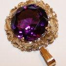 9.292 Grams 14K Yellow Gold Pendant with Large, Deep Purple Amethyst Gemstone Scrap or Not