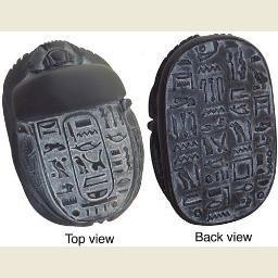 Egyptian Scarab with Hieroglyphs, Black Finish