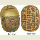 Egyptian Scarab with Hieroglyphs, Gold Finish