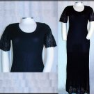 EXCLUSIVELY MISOOK LONG BLACK  DRESS Small S Lace  Side Slit Ribbed