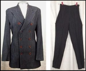 JEAN PAUL GAULTIER FEMME PINSTRIPE SUIT Size 40 6 Small Pants Lush Astrological Design Lining