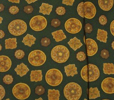 GREEN SULKA NECKTIE Silk Tie Gold Buttons Made in France
