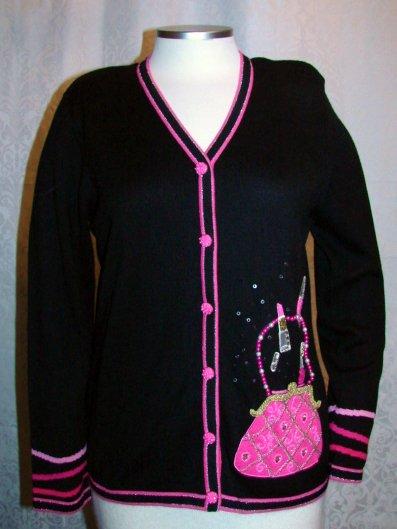 BEREK SWEATER PURSE POCKET S Small Black Pink Glitter Jeweled