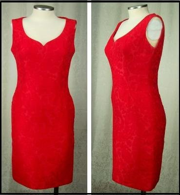 PAUL LOUIS ORRIER RED DRESS Size 6 Alluring Paris Brocade