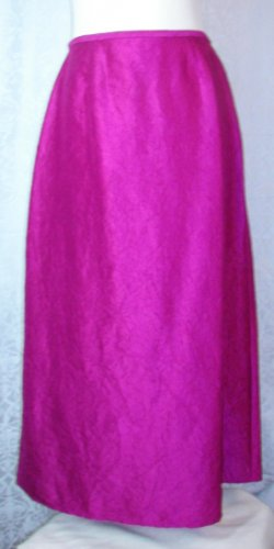 LONG SILK SKIRT Eileen Fisher M Medium RED VIOLET Crinkle Rich