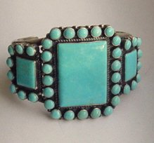 FAMOUS DESIGNER NAVAJO NATIVE AMERICAN KIRK SMITH TURQUOISE STERLING BRACELET JEWELRY