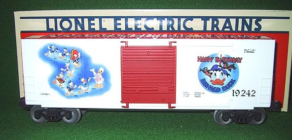 Lionel Trains 19242 Donald Duck Hi-Cube Box Car Disney RARE  New OB O Gauge