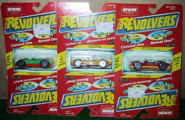 Three Lionel Irwin Revolver Die Cast Cars Canadian Issue Bilingual Card New