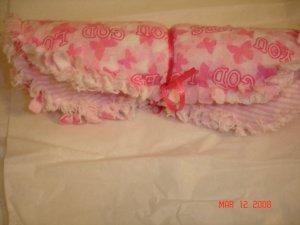 """Pink """"God Loves You"""" Rag Burp Cloth"""