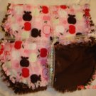 Pink & Brown *Apples* Rag Burp Cloth