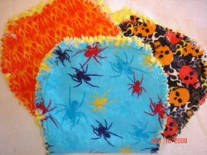 Set of 3 Flame/Skull/Spider Rag Burp Cloths
