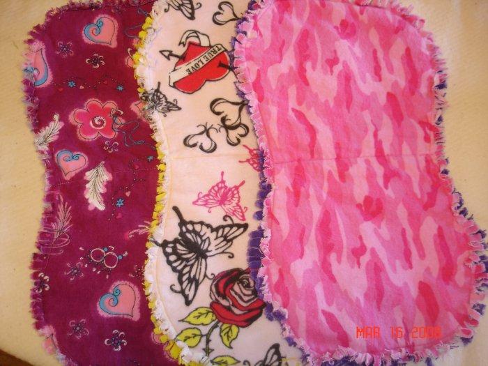 Pink/Fuschia Edgy Baby set of 3 Rag Burp Cloths