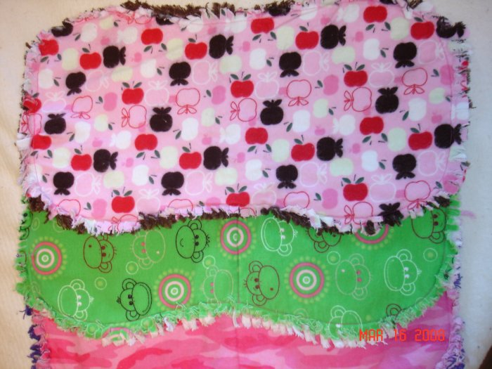 Set of 3 Rag Burp Cloths (Monkey, Apples & Pink Camo)