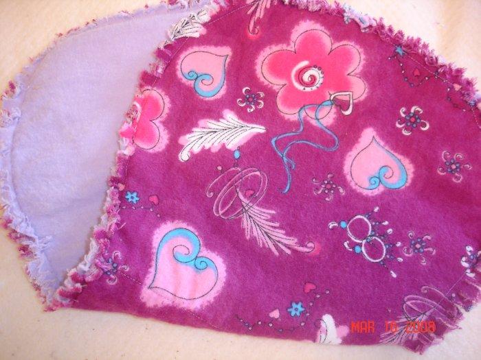 Fuschia Hearts/ Princess Rag Burp Cloth