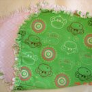 Green Monkey & Pink Circles Rag Burp Cloth