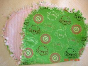 Green Monkey & Pink Circles Rag Burp Cloth