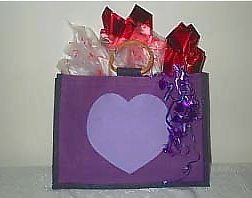 Gift  Tote Bag (basket) filled with goodies,  lilac colored HEART on purple