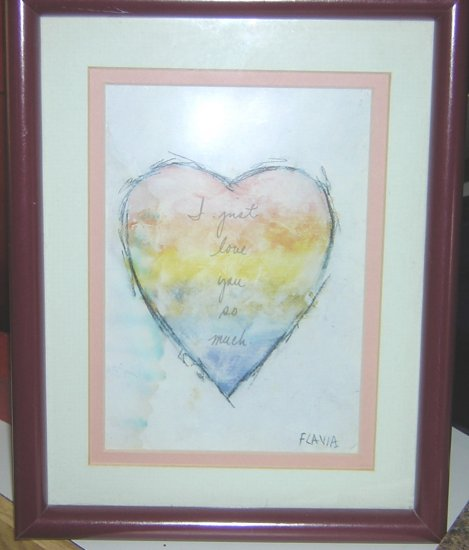 "Collector's Flavia print, ""I love you so much"" framed in rich burgundy"