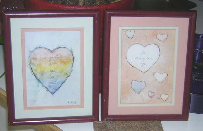 Set of collector's Flavia prints beautifully matted & framed in matching rich burgundy