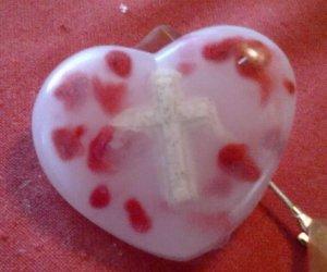 Cross in a HEART red shavings in Soap bar