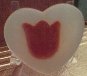 Love red tulips? Have one in your all natural olive oil HEART soap bar