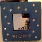 "Beautiful deep Blue ""Believe"" with stars picture frame, 8 inch square"