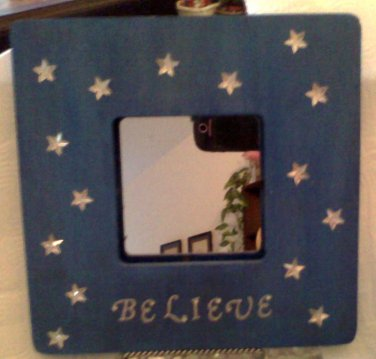 """Beautiful deep Blue """"Believe"""" with stars picture frame, 8 inch square"""