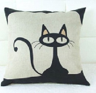 "French ""Le Chat"" kitty Linen Pillow Cover"