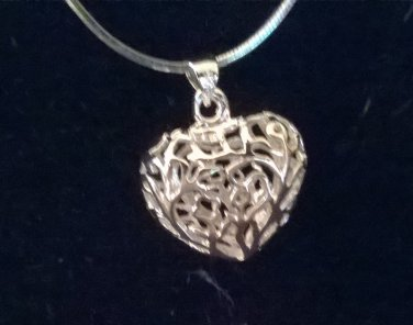 Sterling Silver Filigree HEART pendant on Sterling Silver chain