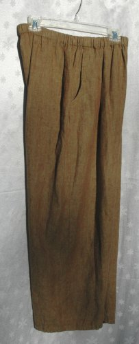 FLAX Dark Green Flood Pants - LINEN - Size M - NEW