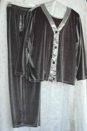 COLDWATER CREEK Silver Pewter Velvet & Satin 3 PIECE Pant Suit - Size 2X