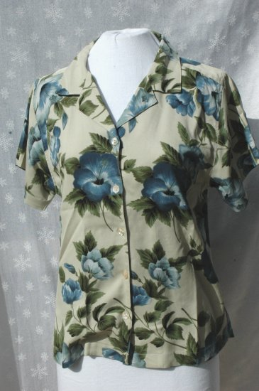 TOMMY BAHAMA Blue Hibiscus SILK Short Sleeve Blouse - Medium
