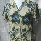 TOMMY BAHAMA Blue Hibiscus SILK Short Sleeve Blouse - Medium