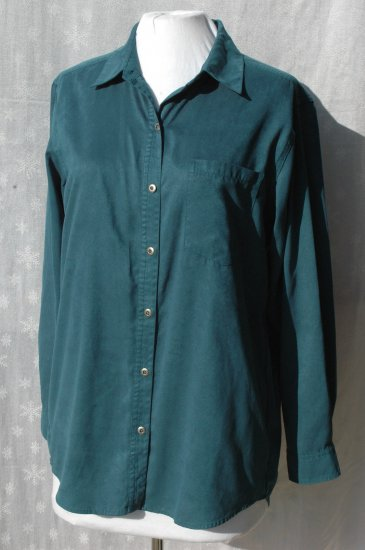 CHICO�S Teal Moleskin Blouse Super Suede Shirt � Chico's Size 1 S M