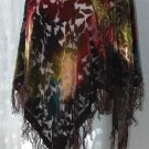 BURNTOUT VELVET Poncho - Fringe Edge - One Size Fits All