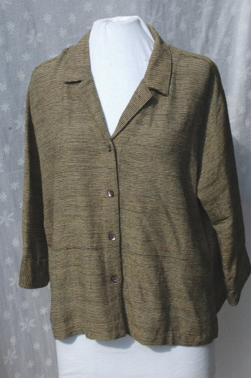 CHICO'S DESIGN Tan & Black SILK 3/4 Sleeve Blouse - Chico's Size 2 M L