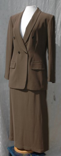 JONES NEW YORK 2 Pc Cocoa Skirt SILK Suit - NWT - Size 12 - Orig. $220