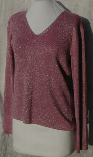 NEW YORK & COMPANY Purple & Silver V Neck TOp - Large