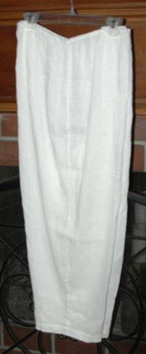 EILEEN FISHER White Linen & Cotton Pant - Size 3X