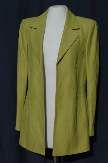 DANA BUCHMAN Open Tailored Linen & Rayon Green Blazer - Size 8