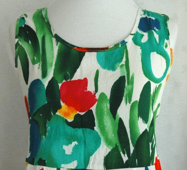 JAMS WORLD Vibrant Watercolor FLORAL Empire Dress PANIC Design - Large