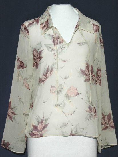 TOMMY BAHAMA Silk Semi-Sheer Blouse Top - Size Medium
