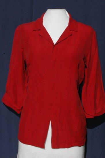 CHICO�S DESIGN Red Silk Linen Blouse � Size 1 Small Medium