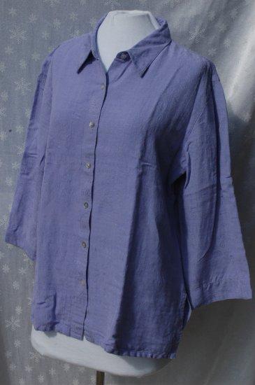 CHICO's DESIGN Purple JACQUARD BLouse Shirt - Chico's Size 2 Medium Large