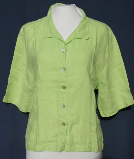 LINO by CHICO'S Vibrant Green Linen Blouse - Chicos Size 2 Medium Large