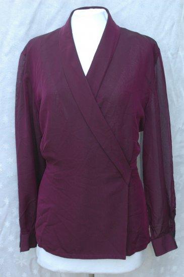 DANA BUCHMAN Purple Shawl Collar SILK Blouse - Size 16