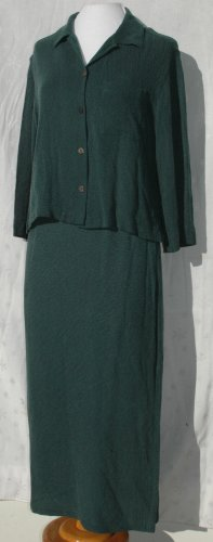 CHICO's DESIGN 2 Piece Cupra Green Skirt Set Outfit - Chico's Size 1 2