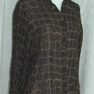 DANA BUCHMAN Brown Snake Animal Print Blouse - Size 4 Petite