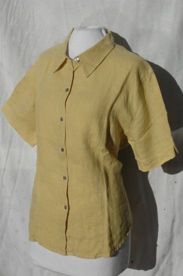 CHICO's DESIGN Yellow Fitted LINEN Blouse Top - Size 2